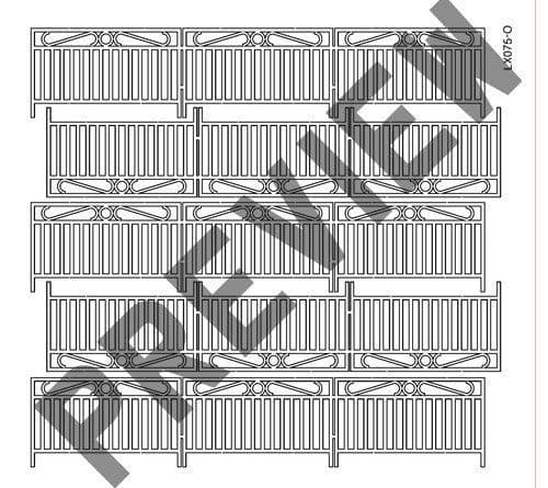 LX075-O Laser Cut Decorative Wrought Iron Railings O/7mm/1:43